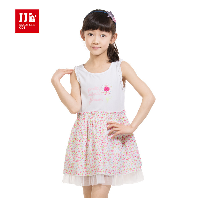 girls fashion sleeveless dress for sweet floral applique with lace peplum one pieces news 2015 summer cloting size 4-11 years