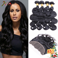 Beauty Forever Mink Brazilian Virgin Hair Body Wave 3 Bundle with Ear to Ear Lace Frontal Closure Wet and Wavy Human Hair Weaves