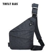 TINYAT Men Chest Bag Nylon Waterproof Light Crossbody Bag Multifunctional Anti Theft Lock Shoulder Bag Design