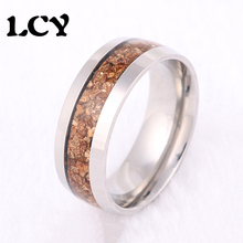 Size 6 To 12 2016 New Arrival Never Fade Vintage Titanium 8mm Stainless Steel Ring Brown Wood Grain Ring For Men Jewelry LCY-109