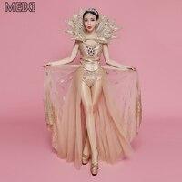 Sparkle queen gold print rhinestone drag tail suit bar club concert female dancer costumes