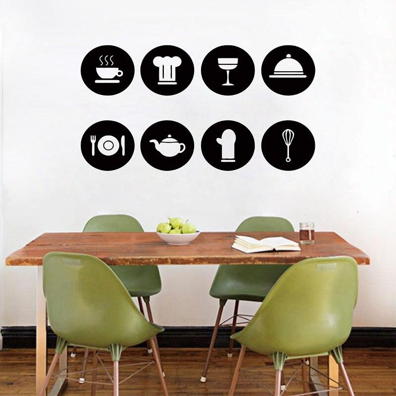 Mignon Cuisine Décoratif Pictogrammes Cercle Cuisson Outils Vinyle Wall Sticker Cuisine adhésif Mural Sticker Art Décor À La Maison, 8 pcs Diy