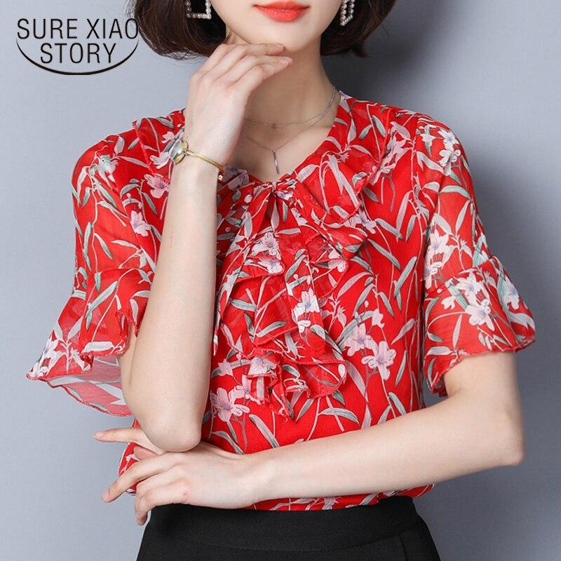 Blusas 40 Femenina Azul Tops Señoras Impresión Mujeres Tamaño De Plus Camisa 0371 Gasa verde Moda La 2018 Blusa Verano rojo Las CqAvg