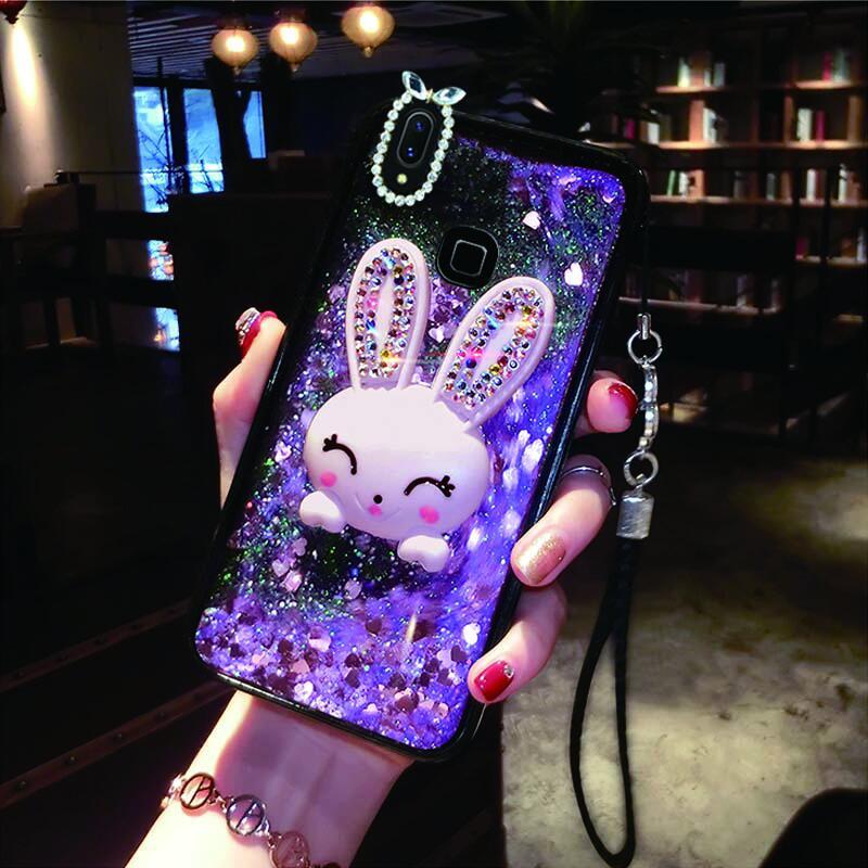 Case For Huawei P30 Cover Diamond Rabbit Case For Huawei P20 P20 Lite P20 Pro Bracket Case Liquid Mobile Phone Cases