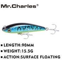 Mr.Charles CMC028 Fishing Lure 90mm/15.5g Surface Floating Shad VIB Hard Baits high-carbon steel Hooks Crankbait Leurre Wobbler