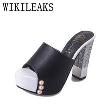 626447b2c46406 pearl platform slippers women shoes pantufa zapatos de mujer summer slides  designer luxury brand sexy high heels sandals woman