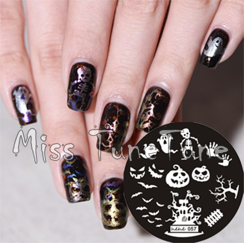 New Stamping Plate hehe57 Halloween Horrible Pumpkin Skull Ghost Bats Nail Art Stamp Template Image Transfer Stamp