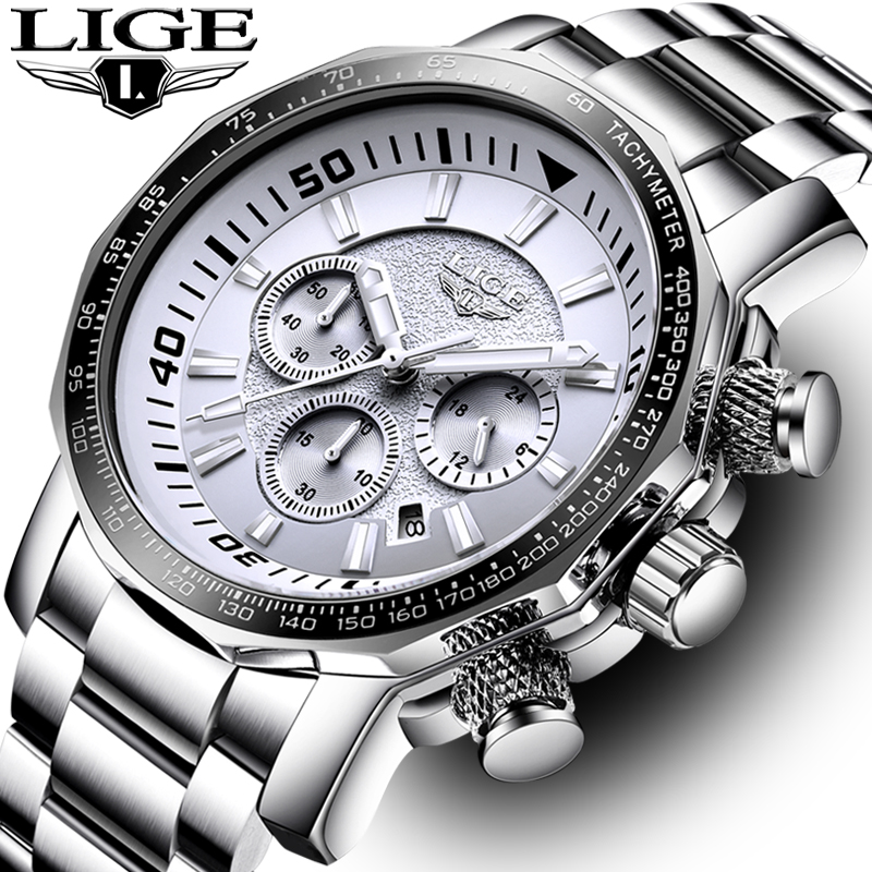 LIGE Men Watches Fashion Sport Quartz Big Dial Clock All Steel Top Brand Luxury Military Waterproof Male Watch Relogio Masculino epozz brand new quartz watch for men big dial waterproof stainless steel watches classic casual top fashion luxury clock 1602