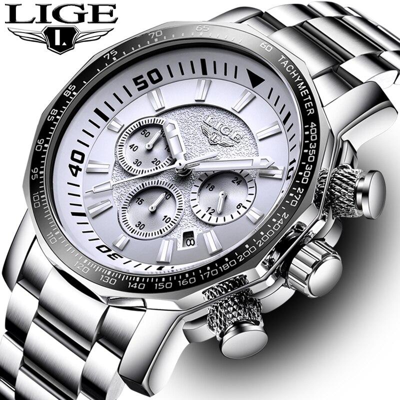 LIGE męskie zegarki moda zegarki sportowe kwarcowy Big Dial zegar wszystkich stali nierdzewnej Top marka luksusowe wojskowy wodoodporny męski zegarek Relogio Masculino w Zegarki kwarcowe od Zegarki na  Grupa 1