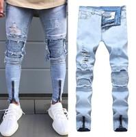 Mężczyźni Nowe Dżinsy Stretch Zgrywanie Zniszczone Fałdy Projektowania Mody Kostki zamek Skinny biker Jeans Dla Mężczyzn Jogger spodnie Plus Size 38