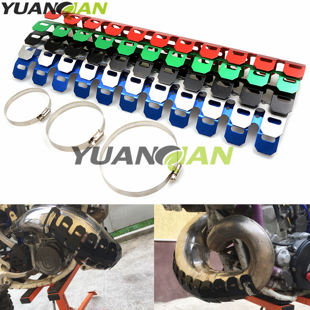 Off-road Exhaust Muffler Pipe Guard Protector Heat Shield For YAMAHA TRICKER DT TW PW RT 50 80 85 90 100 125 225 230 250 426 turbo sound exhaust muffler pipe whistle blow off bov simulator whistler silver size l
