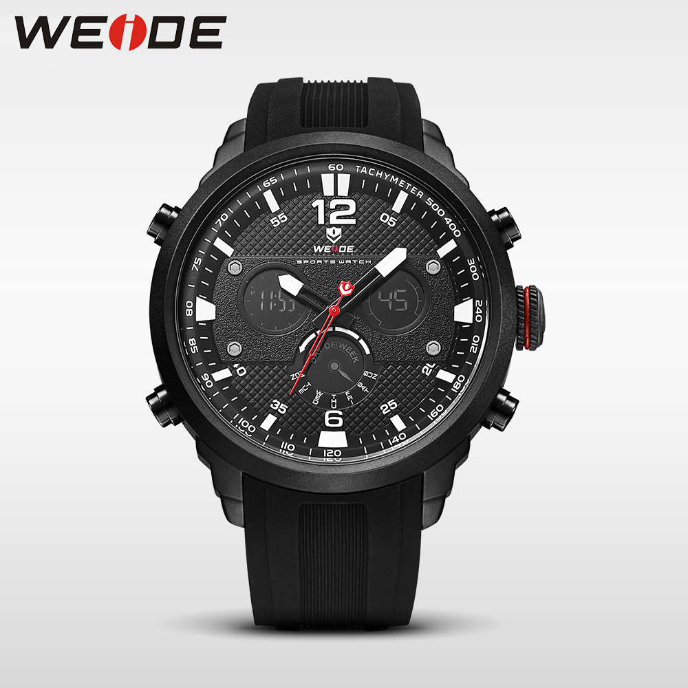 WEIDE LCD men watch sport digital luxury brand   quartz watches water resistant relojes hombre 2017 fashion casual alarm clock weide casual genuin new watch men quartz digital date alarm waterproof fashion clock relogio masculino relojes double display