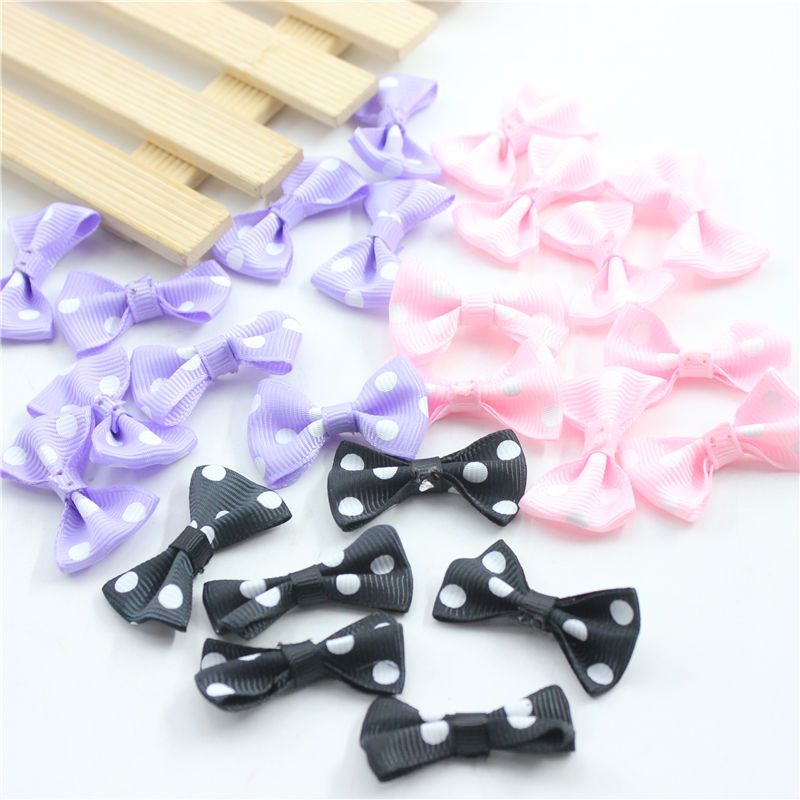 3 kinds 20pcs Mini Small Pringting Ribbon Bow Pet Bowknot Craft only bow no clips DIY Wedding Decor Hair Accessories
