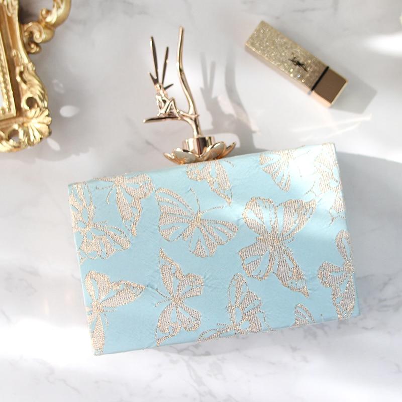 Radis personnalité Design métal fermoir carré boîte sac doré papillon velours impression fourre-tout sac à main