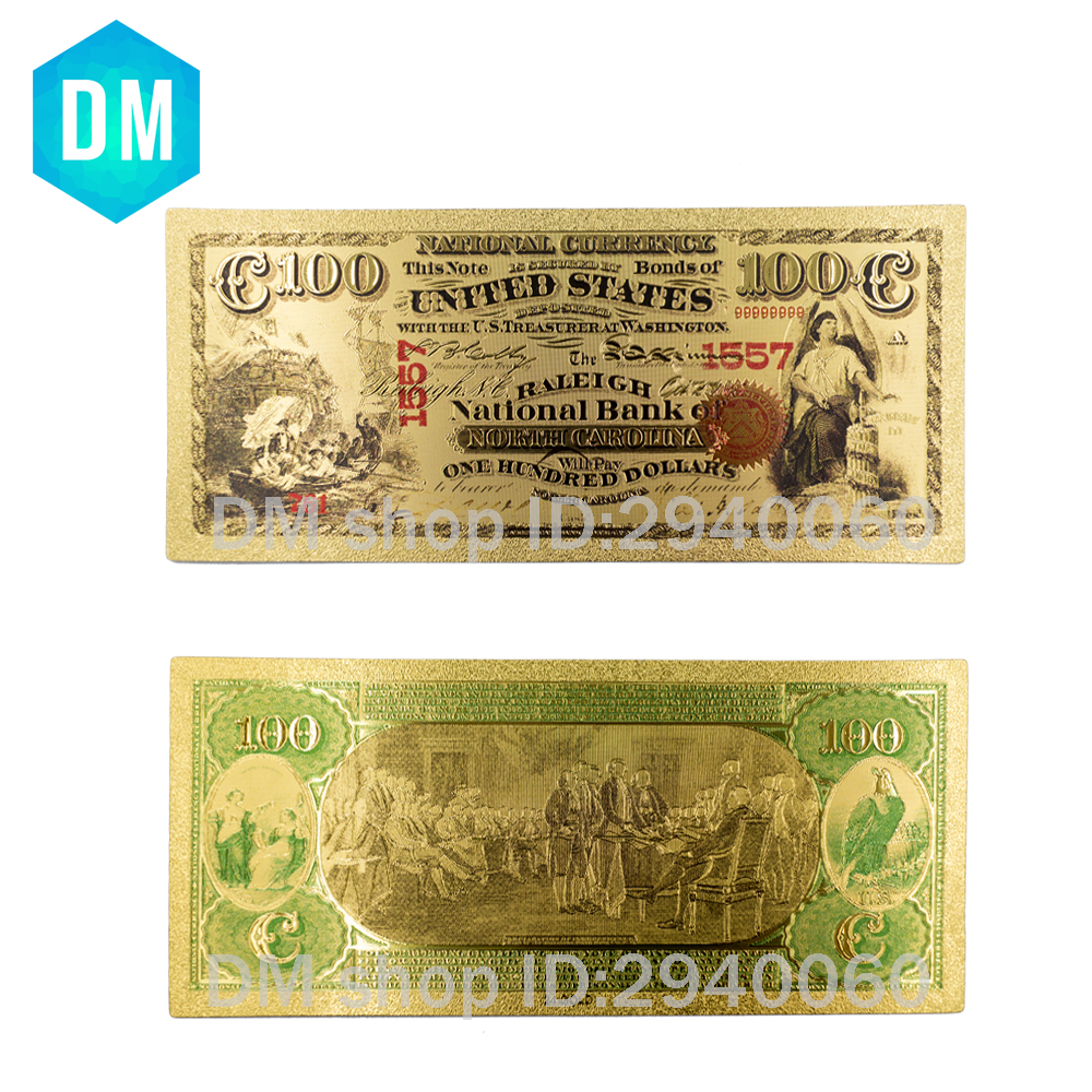 US $9 07 |10pcs Collectible American Gold Banknote 1928 Year Two Dollar  Gold Plated World Paper Money Quality Art Crafts Golden Bill Note-in Gold