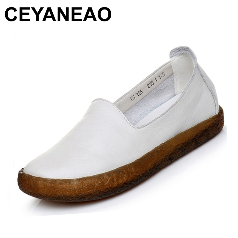 CEYANEAO  2018 New Fashion Cow Leather Soft Bottom Casual Shoes Flats Women Loafers White Round Toe Women's Shoes Moccasins