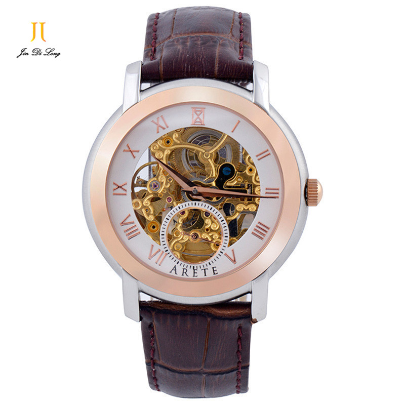 Brand Luxury Men Casual Business Watch Auto Mechanical Skeleton Analog Genuine Leather Strap Sapphire Rome Numeral Wristwatch deluxe ailuo men auto self wind mechanical analog pointer 5atm waterproof rhinestone business watch sapphire crystal wristwatch