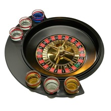 Купить с кэшбэком Novelty Gifts Russian Lucky Shot Party Games Roulette Drinking Game with 6 Glass Spin Wheel Portable Board Game for 2-3 players