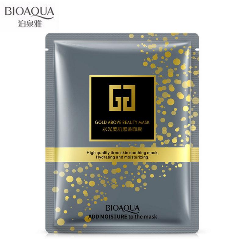BIOAQUA Facial Beauty Moisturizing Mask Pure Black Gold Biological Collagen Mask Skin Care Whitening Oil Control 5 Pieces