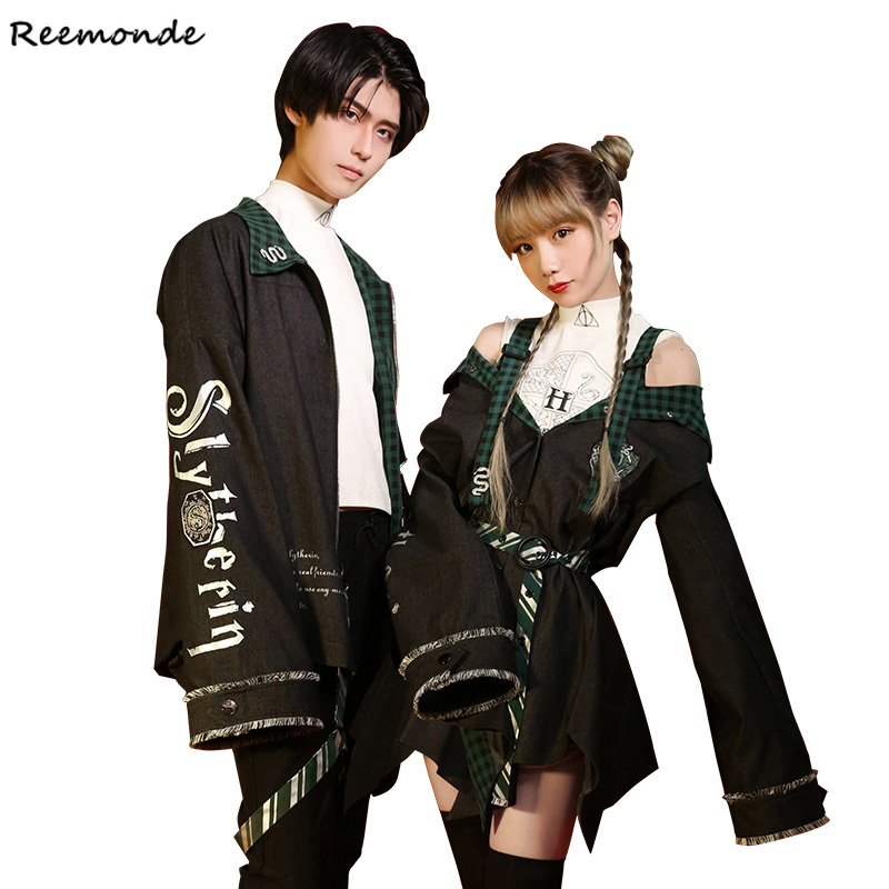 Summer Slytherin College Cosplay Costumes Draco Malfoy Jackets Coat Skirt Shirt For Women Girl Boy Party School Of Magic Clothes