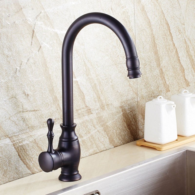Black color cold and hot mixer kitchen faucet dual sink faucet rotation kitchen water tap 360 degree deck mounted single hole цена 2017