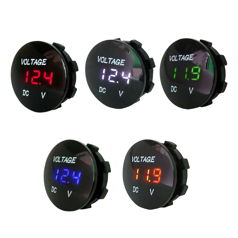 DC 12V 24V LED Digital Display Voltmeter for Car Motorcycle Boat Marine Truck Rv ATV (Blue Green Red LED) стоимость
