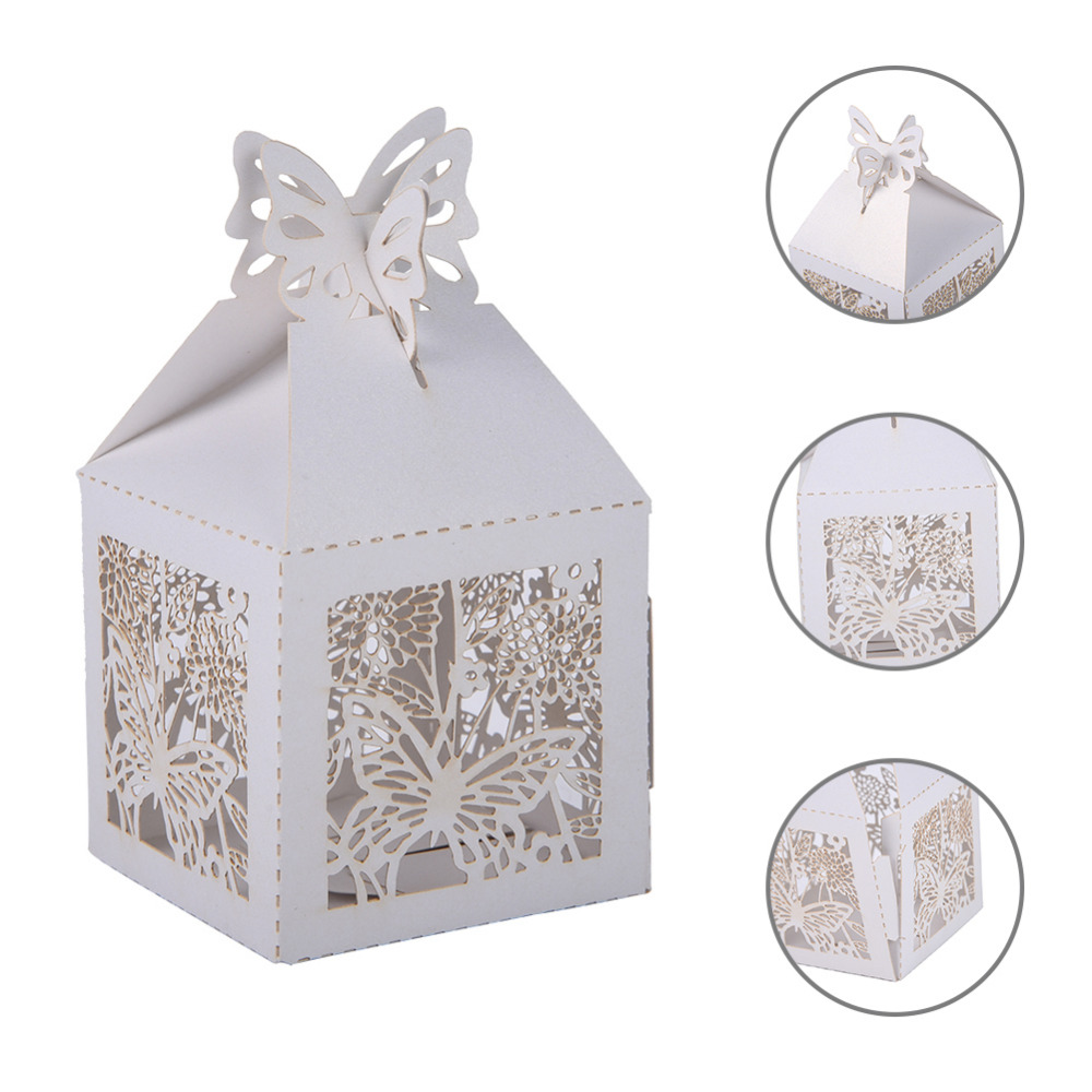 10pc/lot Beautiful Butterfly Laser Cut Hollow Carriage Favors Box ...