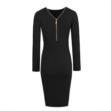 Young17 Autumn Dress Women 2017 Work Gray Burgundy Black Zipper Knee-Length Sexy V-Neck Knitted Dress Fall Bodycon Dress