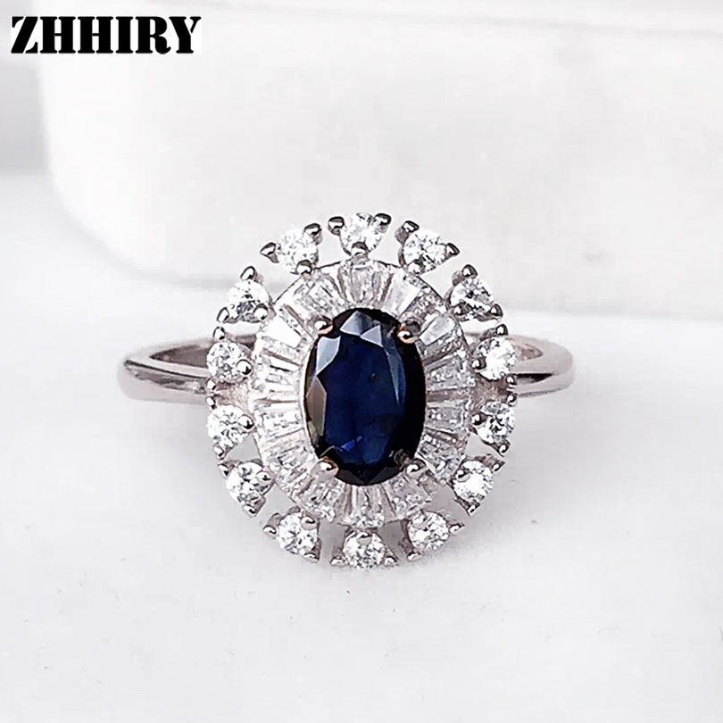 Women Natural Sapphire Ring Genuine Solid 925 Sterling Silver Fine Gem Stone Jewelry Flower Shape chic ellipse shape faux gem flower earrings for women