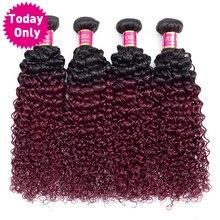 TODAY ONLY 1 3 4 Burgundy Bundles Brazilian Kinky Curly Human Hair Bundles Brazilian Hair Weave