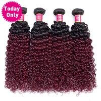 TODAY ONLY 1/ 3 / 4 Burgundy Bundles Brazilian Kinky Curly Human Hair Bundles Brazilian Hair Weave Bundles Ombre Human Hair Remy