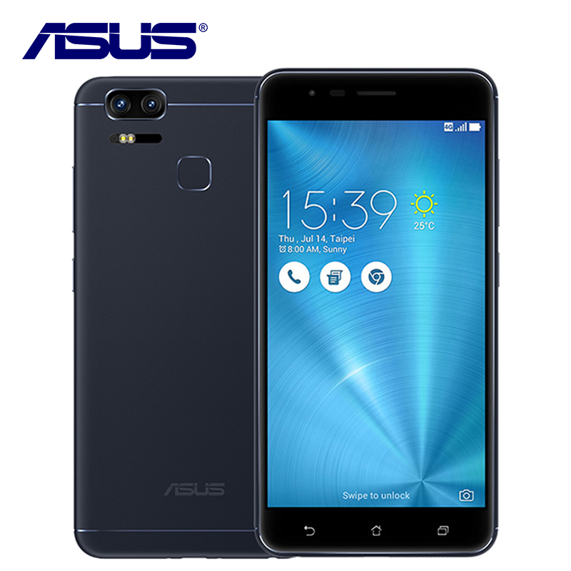 D'origine ASUS Zenfone 3 Zoom ZE553KL Mobile Téléphone Qualcomm Double sim 3 Caméra 4 GB RAM 128 GB ROM 5000 mAh Android D'empreintes Digitales 5.5
