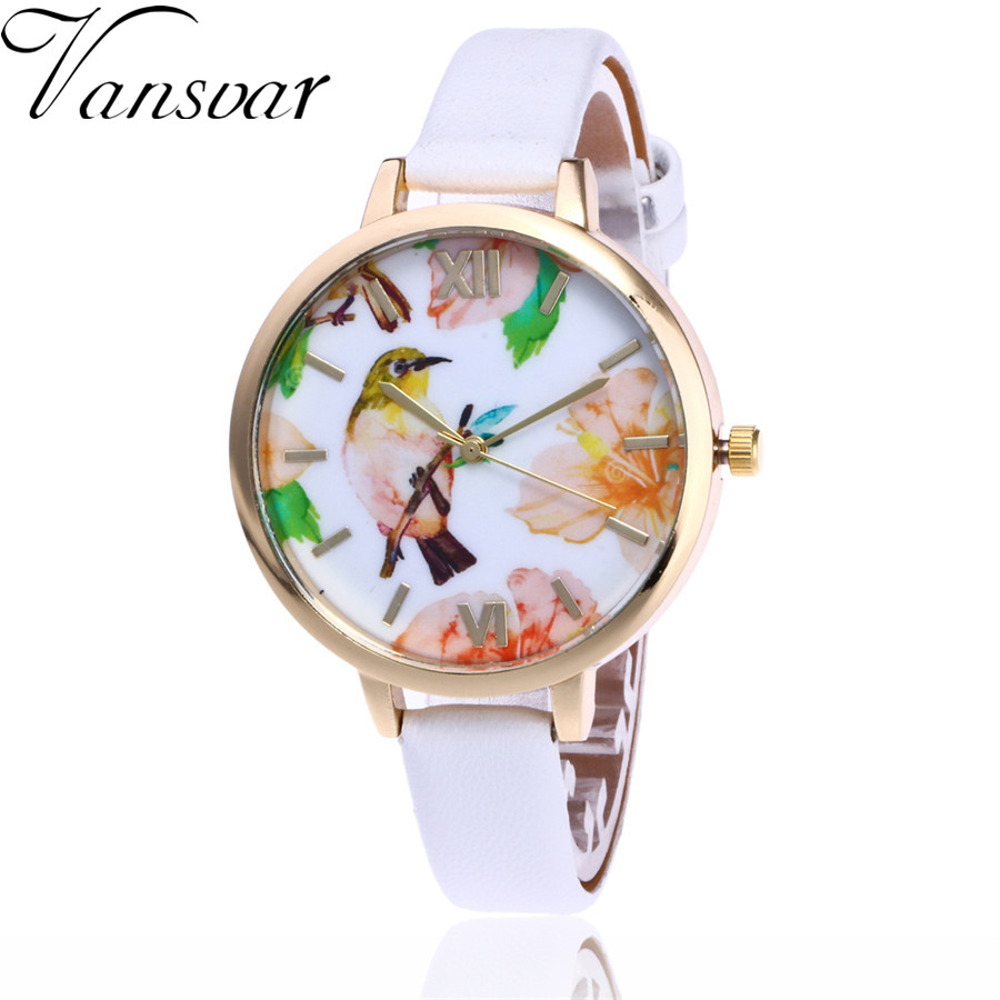 Vansvar Brand Fashion Bird Watch Women Flower Wrist Watch Garden Beauty Quartz Watch Gift Relogio Feminino V58 vansvar brand fashion casual relogio feminino vintage leather women quartz wrist watch gift clock drop shipping 1903