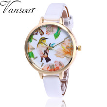 Vansvar Brand Fashion Bird Watch Women Flower Wrist Watch Garden Beauty Quartz Watch Gift Relogio Feminino V58