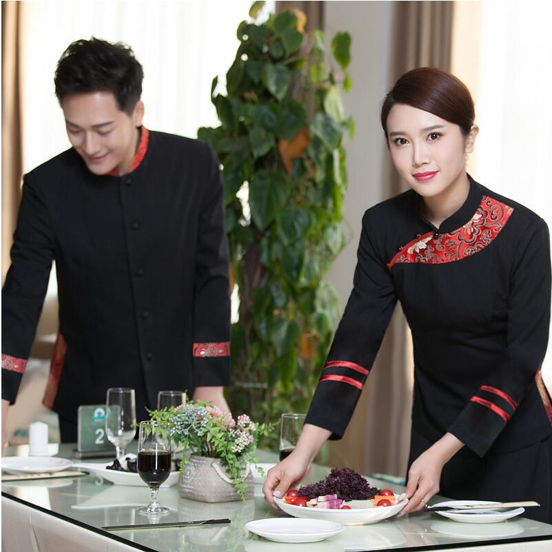 Printemps travail porter hôtel restaurant uniformes service alimentaire uniforme style chinois vêtements serveur costume restaurant serveuse uniformes