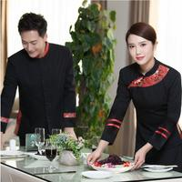 Spring work wear Hotel restaurant uniforms food service uniform Chinese style clothing waiter Suit restaurant waitress uniforms