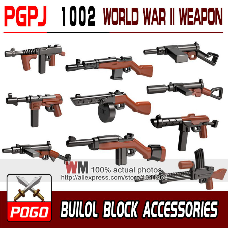 10pcs/lot Pgpj1002 Pgpj1001 Building Blocks Wolrd War Weapon Pack Guns Building Blocks Toys Toys & Hobbies Model Building