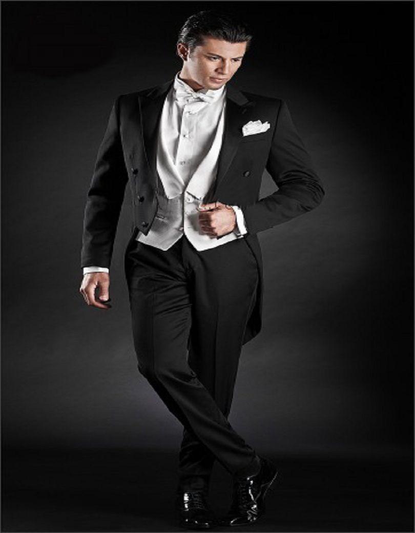 Classic Black Satin Tail Coat Groom Tuxedos Groomsman Suit