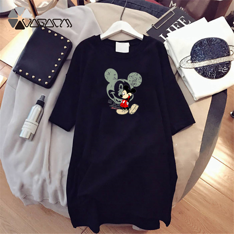 2019 Summer Women Dresses Mickey Mouse Cartoon Printed Casual Loose Black Women Clothes Plus Size Dress Fashion Harajuku White