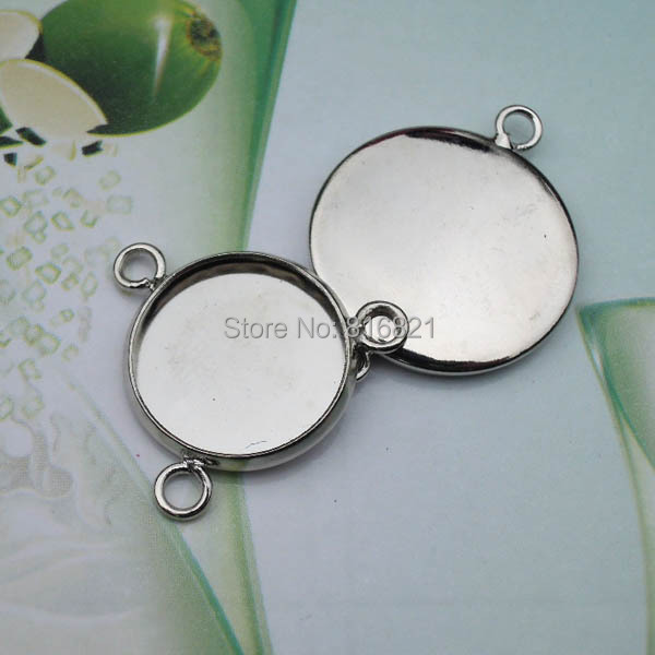 New Rhodium tone Plated Brass Connectors Blank Cabochon Bases Round ...