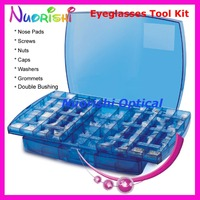 2 Layers Glasses Accessories Case Screw Contains Nose Pads Screws Nuts Caps Washers Grommets Double Bushing 3705A Free Shippi