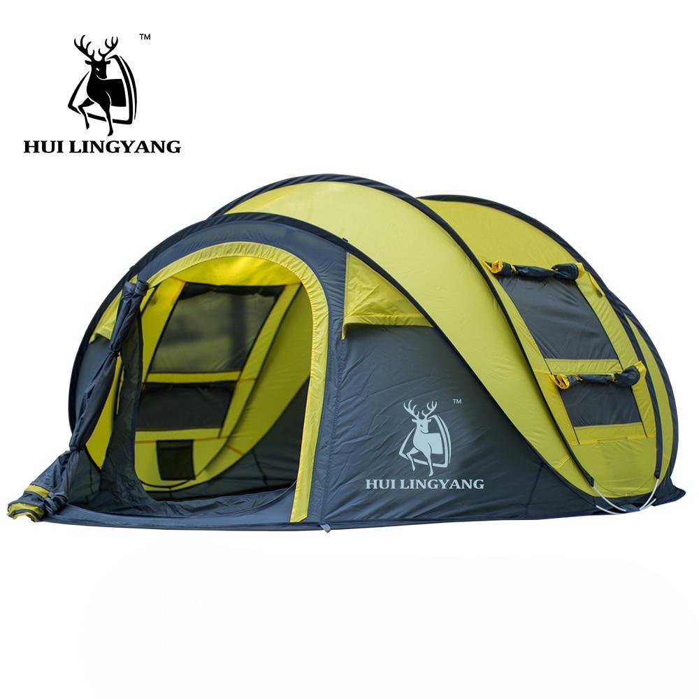 Grand lancer tente en plein air 3-4persons automatique vitesse ouvert jeter pop up coupe-vent étanche plage camping tente grand espace - 3