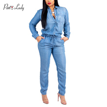 Party Lady 2018 Party Club Jumpsuits For Women Autumn Winter Blue Color Deep V-neck  Rompers Sexy Solid Button Girls Jumpsuit -C