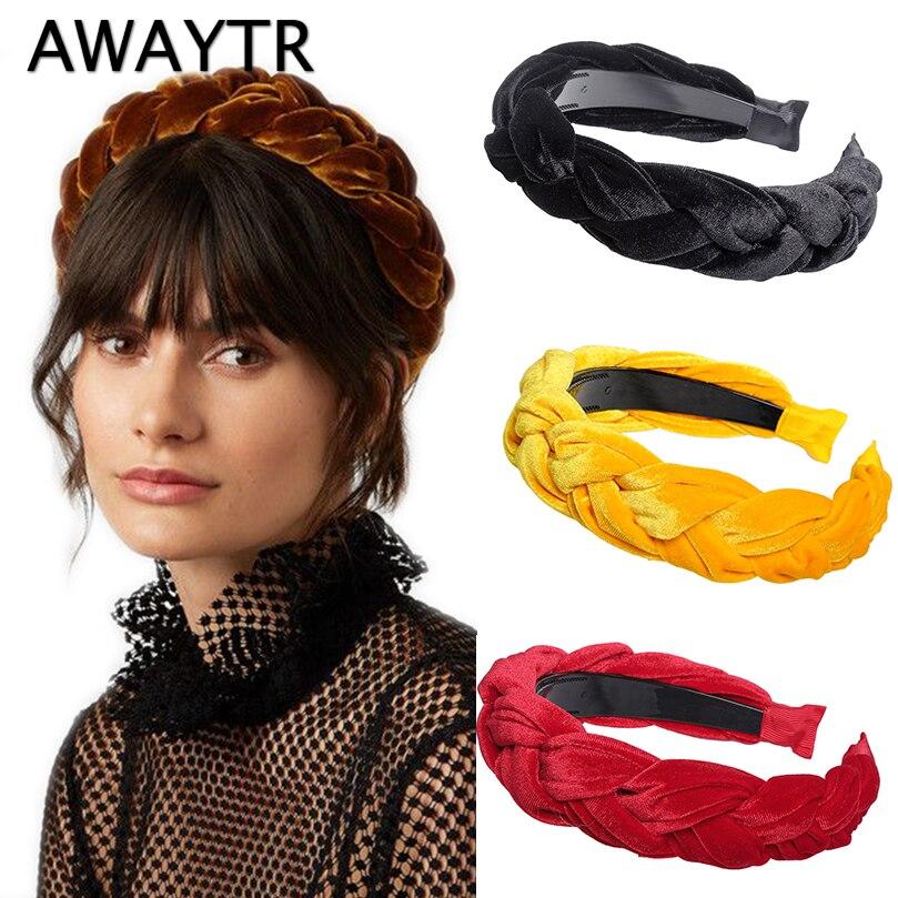 AWAYTR 2019 New Velvet Hairband For Women Ladies Headband Solid Color Braid Hair Loop Retro   Headwear   Female Hair Accessories