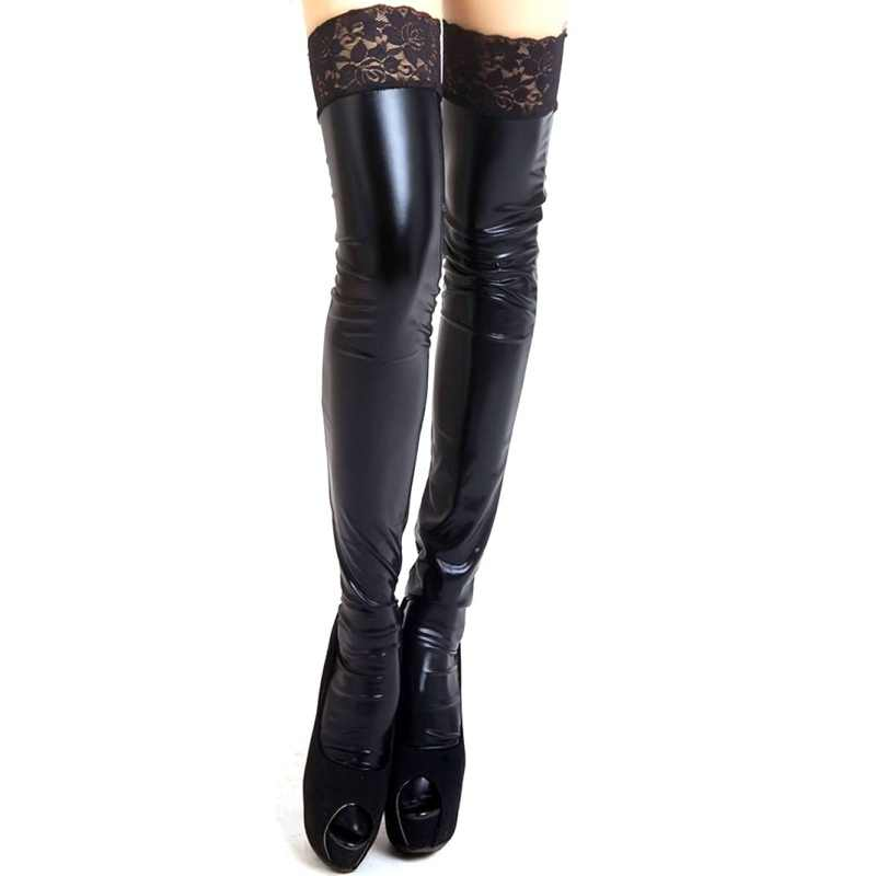 New Sexy Women Lady Wet Look Faux Leather Thigh High Stockings Lace Stay Up 3 Color Black Red White W13 Aliexpress