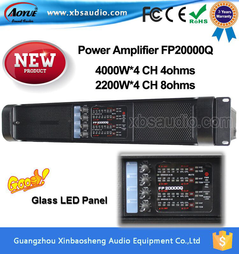 4 channels Digital  class d amplifier Fp20000q high  Power Subwoofer,tube Amplifier 2000w with tree years warranty