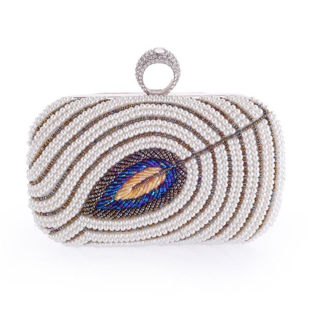 European style fashion mini diamond beaded evening bag lady hit the color multicolor exposure polyester rectangular clutch bag