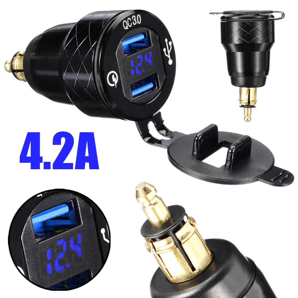 Mayitr 4.2A Motorcycle Dual <font><b>USB</b></font> <font><b>Charger</b></font> 12V-24V Aluminum Moto Cigarette Lighter Socket For <font><b>BMW</b></font> F800 F650 F700 R1200 GS EU Plug image