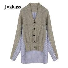 Jvzkass 2018 new spring version of the irregular chic striped long-sleeved shirt stitching Harajuku knit female Z108
