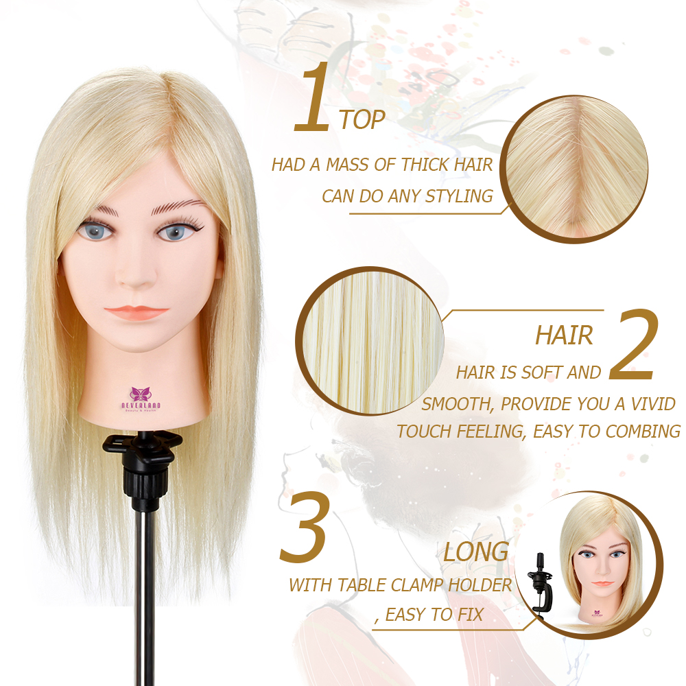 18'' Blonde Hair Hairdressing Training Mannequin Head With Human Hair For Hairstyles Makeup Blue Eye Wig Dummy Doll Manikin Head-in Mannequins from Home ...